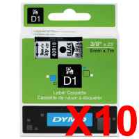 10 x Genuine Dymo D1 Label Tape 9mm Black on Clear 40910 - 7 metres