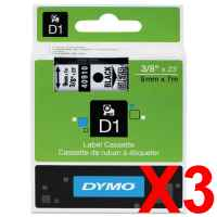 3 x Genuine Dymo D1 Label Tape 9mm Black on Clear 40910 - 7 metres