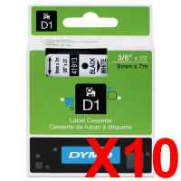 10 x Genuine Dymo D1 Label Tape 9mm Black on White 40913 - 7 metres