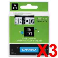 3 x Genuine Dymo D1 Label Tape 9mm Black on White 40913 - 7 metres