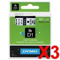 3 x Genuine Dymo D1 Label Tape 9mm Black on White 40913 - 7 metres
