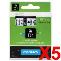 5 x Genuine Dymo D1 Label Tape 9mm Black on White 40913 - 7 metres