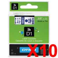 10 x Genuine Dymo D1 Label Tape 9mm Blue on White 40914 - 7 metres
