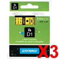 3 x Genuine Dymo D1 Label Tape 9mm Black on Yellow 40918 - 7 metres