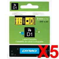 5 x Genuine Dymo D1 Label Tape 9mm Black on Yellow 40918 - 7 metres
