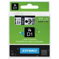 1 x Genuine Dymo D1 Label Tape 6mm Black on Clear 43610 - 7 metres