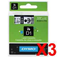 3 x Genuine Dymo D1 Label Tape 6mm Black on Clear 43610 - 7 metres