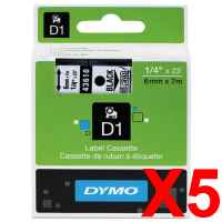 5 x Genuine Dymo D1 Label Tape 6mm Black on Clear 43610 - 7 metres