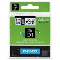 1 x Genuine Dymo D1 Label Tape 6mm Black on White 43613 - 7 metres