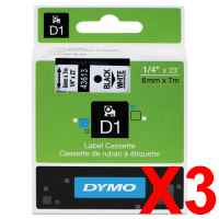 3 x Genuine Dymo D1 Label Tape 6mm Black on White 43613 - 7 metres