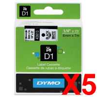 5 x Genuine Dymo D1 Label Tape 6mm Black on White 43613 - 7 metres