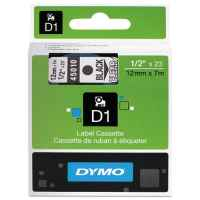 1 x Genuine Dymo D1 Label Tape 12mm Black on Clear 45010 - 7 metres