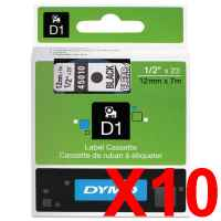 10 x Genuine Dymo D1 Label Tape 12mm Black on Clear 45010 - 7 metres