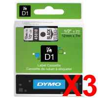 3 x Genuine Dymo D1 Label Tape 12mm Black on Clear 45010 - 7 metres