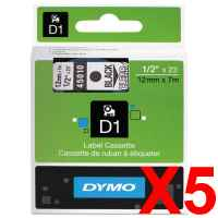 5 x Genuine Dymo D1 Label Tape 12mm Black on Clear 45010 - 7 metres