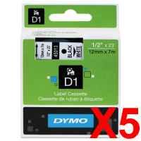 5 x Genuine Dymo D1 Label Tape 12mm Black on White 45013 - 7 metres