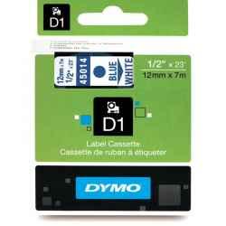 Dymo D1 Label Tape 12mm Blue on White 45014