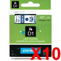 10 x Genuine Dymo D1 Label Tape 12mm Blue on White 45014 - 7 metres