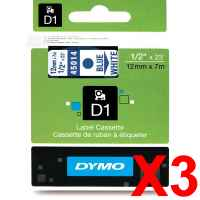 3 x Genuine Dymo D1 Label Tape 12mm Blue on White 45014 - 7 metres