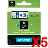 5 x Genuine Dymo D1 Label Tape 12mm Blue on White 45014 - 7 metres