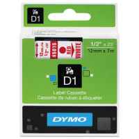 1 x Genuine Dymo D1 Label Tape 12mm Red on White 45015 - 7 metres