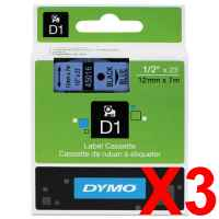 3 x Genuine Dymo D1 Label Tape 12mm Black on Blue 45016 - 7 metres