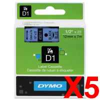 5 x Genuine Dymo D1 Label Tape 12mm Black on Blue 45016 - 7 metres
