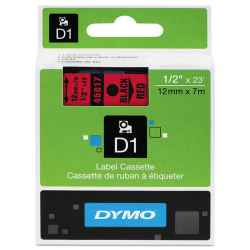 Dymo D1 Label Tape 12mm Black on Red 45017