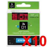 10 x Genuine Dymo D1 Label Tape 12mm Black on Red 45017 - 7 metres
