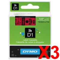 3 x Genuine Dymo D1 Label Tape 12mm Black on Red 45017 - 7 metres