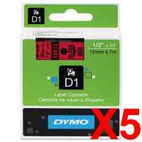 5 x Genuine Dymo D1 Label Tape 12mm Black on Red 45017 - 7 metres