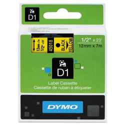 Dymo D1 Label Tape 12mm Black on Yellow 45018