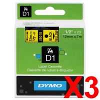 3 x Genuine Dymo D1 Label Tape 12mm Black on Yellow 45018 - 7 metres