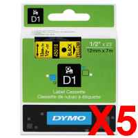 5 x Genuine Dymo D1 Label Tape 12mm Black on Yellow 45018 - 7 metres
