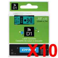 10 x Genuine Dymo D1 Label Tape 12mm Black on Green 45019 - 7 metres
