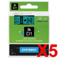 5 x Genuine Dymo D1 Label Tape 12mm Black on Green 45019 - 7 metres