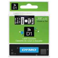 1 x Genuine Dymo D1 Label Tape 12mm White on Black 45021 - 7 metres