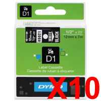 10 x Genuine Dymo D1 Label Tape 12mm White on Black 45021 - 7 metres