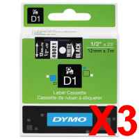 3 x Genuine Dymo D1 Label Tape 12mm White on Black 45021 - 7 metres