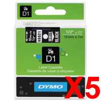 5 x Genuine Dymo D1 Label Tape 12mm White on Black 45021 - 7 metres