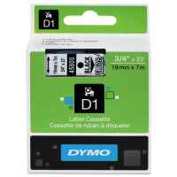 1 x Genuine Dymo D1 Label Tape 19mm Black on Clear 45800 - 7 metres