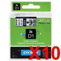 10 x Genuine Dymo D1 Label Tape 19mm Black on Clear 45800 - 7 metres