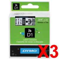 3 x Genuine Dymo D1 Label Tape 19mm Black on Clear 45800 - 7 metres