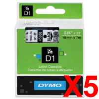 5 x Genuine Dymo D1 Label Tape 19mm Black on Clear 45800 - 7 metres
