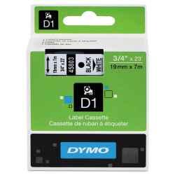 Dymo D1 Label Tape 19mm Black on White 45803