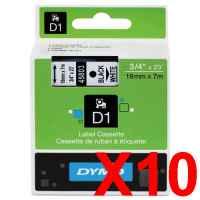 10 x Genuine Dymo D1 Label Tape 19mm Black on White 45803 - 7 metres