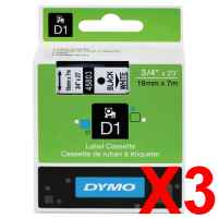 3 x Genuine Dymo D1 Label Tape 19mm Black on White 45803 - 7 metres