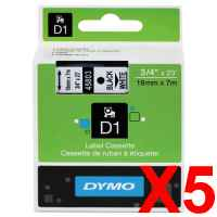 5 x Genuine Dymo D1 Label Tape 19mm Black on White 45803 - 7 metres