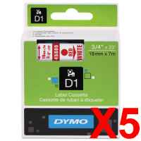 5 x Genuine Dymo D1 Label Tape 19mm Red on White 45805 - 7 metres