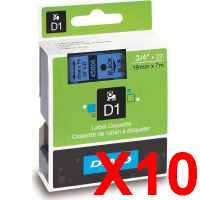 10 x Genuine Dymo D1 Label Tape 19mm Black on Blue 45806 - 7 metres